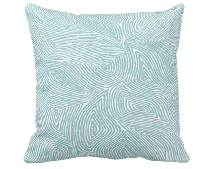 """OUTDOOR Sulcata Geo Throw Pillow or Cover, Aqua/White 14, 16, 18, 20, 26"""" Sq Pillows/Covers Blue/Green Abstract Geometric/Tribal/Lines/Wavy"""