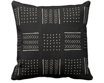 "OUTDOOR - READY 2 SHIP Mud Cloth Print Throw Pillow or Cover, Arrows/Dots Black/Off-White 16"" Sq Pillows/Covers Mudcloth/Boho/Tribal/Design"