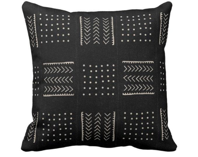 """OUTDOOR - READY 2 SHIP Mud Cloth Print Throw Pillow Cover Only, Arrows/Dots Black/Off-White 16"""" Sq Pillows/Covers Mudcloth/Boho/Tribal"""