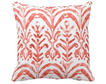 """Watercolor Print Throw Pillow or Cover, Coral/White 14, 16, 18, 20 or 26"""" Sq Pillows or Covers, Hand-Dyed Effect, Pink/Orange/Red"""
