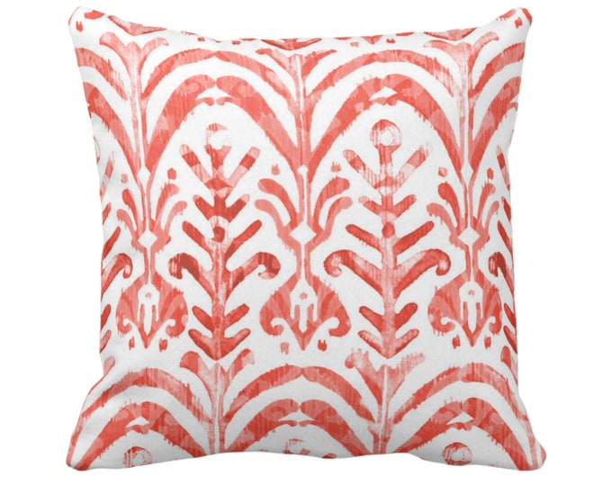 "Watercolor Print Throw Pillow or Cover, Coral/White 14, 16, 18, 20 or 26"" Sq Pillows or Covers, Hand-Dyed Effect, Pink/Orange/Red"
