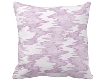 """OUTDOOR Ikat Print Throw Pillow or Cover, Purple/White 14, 16, 18, 20"""" Sq Pillows/Covers Abstract Painted Modern/Boho/Triibal/Geometric"""
