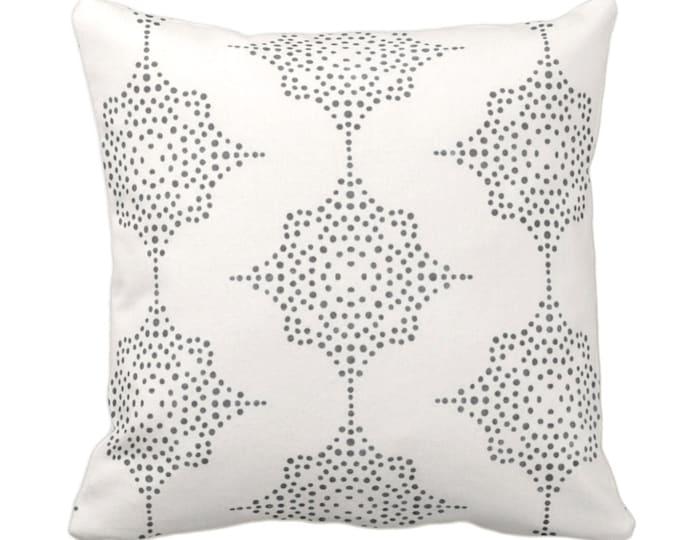 "Block Print Stars Throw Pillow or Cover, Charcoal Gray & Ivory 14, 16, 18, 20, 26"" Sq Pillows/Covers, Blockprint/Boho/Geometric/Star/Print"
