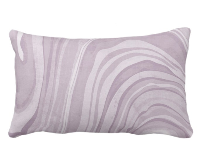 "OUTDOOR Marbled Throw Pillow or Cover, Iced Lavender 14 x 20"" Lumbar Pillows/Covers Dusty Purple Abstract/Waves/Marble Painted Print/Pattern"