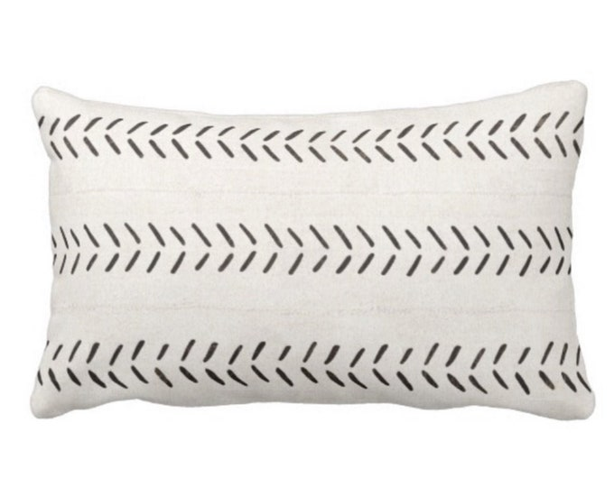 """OUTDOOR Mud Cloth Throw Pillow or Cover, Off-White/Black Arrows Print 14 x 20"""" Lumbar Pillows/Covers, Mudcloth/Tribal/Geometric/Geo"""
