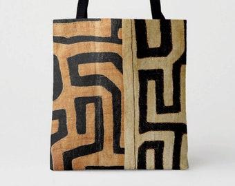 Printed Kuba Cloth Market Tote, Black, Brown & Beige African Boho Shoulder Bag, Tribal Geometric/Geo Print/Pattern