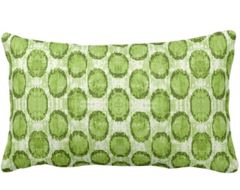 "Ikat Ovals Print Throw Pillow or Cover 14 x 20"" Lumbar/Oblong Pillows or Covers, Kiwi Green Geometric/Circles/Dots/Dot/Geo/Polka Pattern"