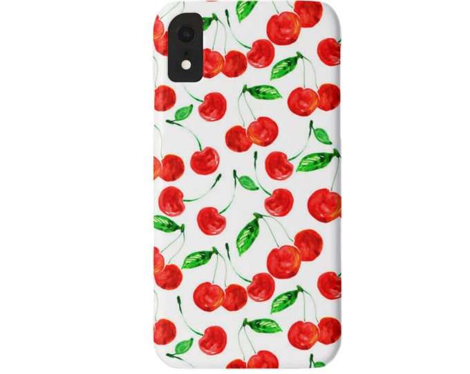Cherries iPhone 11, XS, XR, X, 7/8, 6/6S Pro/Max/Plus/P Snap Case or Tough Protective Cover, Bright Red/White/ Green Cherry Fun Fruit