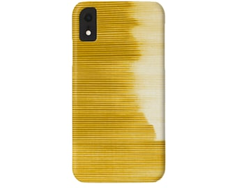 Ombre Stripe Citron iPhone XS, XR, X, 7/8, 7P, 8P or 6/6S, 6P Plus/Max Snap Case or TOUGH Protective Cover, Golden Yellow Striped/Stripes