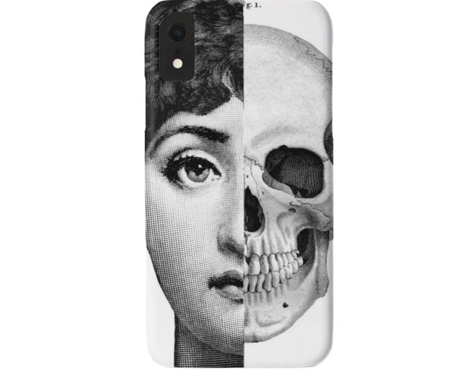 Face & Skull iPhone 11, XS, XR, X, 7/8, 6/6S Pro/Max/P/Plus Snap Case or TOUGH Protective Cover, Black/White Modern Lina Cavalieri Face