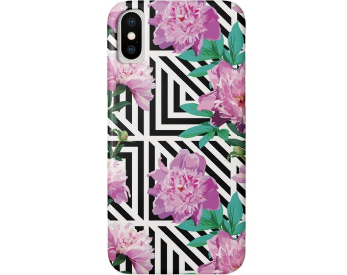 Peony Geo iPhone XS, XR, X, 7/8, 7/8 P, 6/6S or 6 Plus/Max Snap Case or Tough Protective Cover Colorful Pink Floral Black/White Geometric
