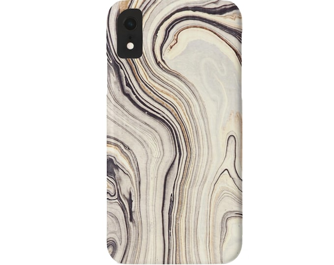 Marbled iPhone 11, XS, XR, X, 7/8, 6/6S, Pro/Max/P/Plus Snap Case or TOUGH Protective Cover, Taupe/Charcoal Marble/Abstract/Modern Print