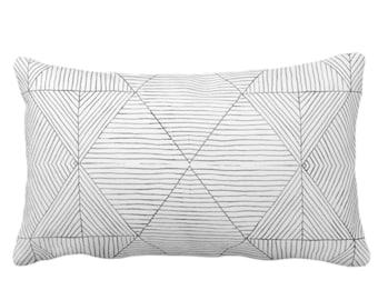 "OUTDOOR Fine Line Geo Print Throw Pillow or Cover 14 x 20"" Lumbar Pillows/Covers, Charcoal Dark Gray/Grey Tribal Geometric/Diamond/Lines"