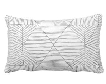 """Fine Line Geo Print Throw Pillow or Cover 14 x 20"""" Lumbar Pillows or Covers, Charcoal Dark Gray/Grey Tribal Geometric/Abstract/Lines/Diamond"""