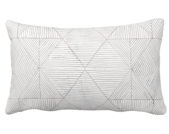 "OUTDOOR Fine Line Geo Print Throw Pillow or Cover 14 x 20"" Lumbar Pillows/Covers, Taupe Beige/Gray/White Tribal Geometric/Diamond/Lines"
