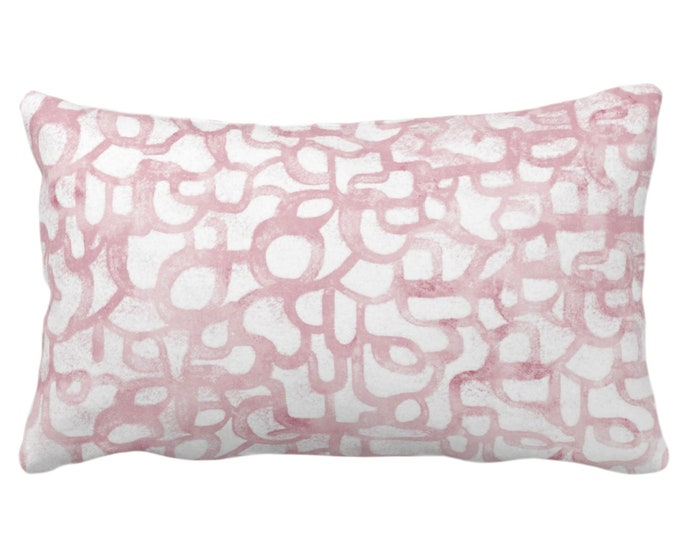 "OUTDOOR Abstract Curves Throw Pillow or Cover, Blush 14 x 20"" Lumbar Pillows or Covers Light Rose Pink Painted Modern/Geometric/Geo Print"