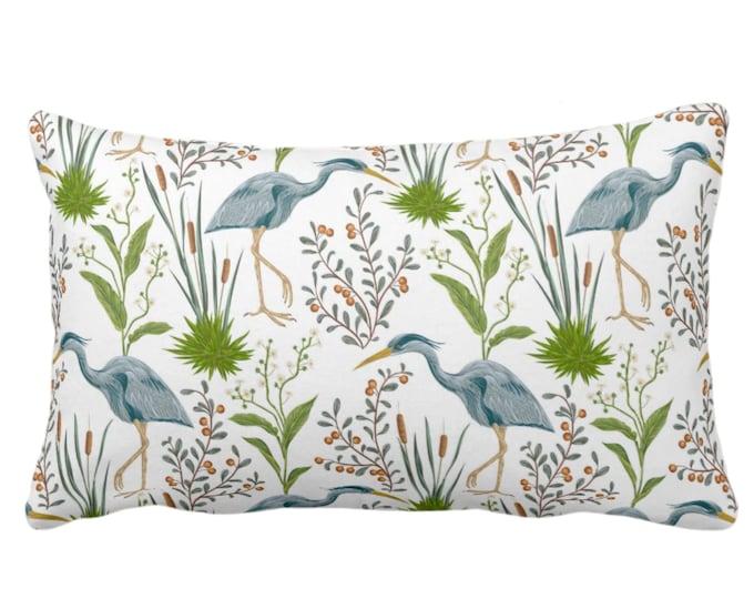 "Blue Heron Throw Pillow or Cover, 14 x 20"" Lumbar/Oblong Pillows/Covers, Teal Blue & Green Bird/Birds Naturalist Print/Pattern Toile/Nature"