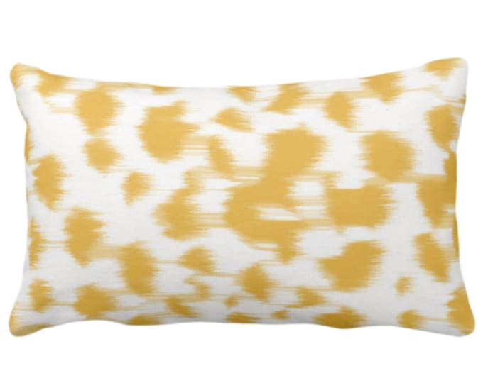 """Ikat Abstract Animal Print Throw Pillow/Cover 14 x 20"""" Lumbar Pillows/Covers, Citron Yellow/White Spots/Spotted/Dots/Dot/Geo/Painted Pattern"""