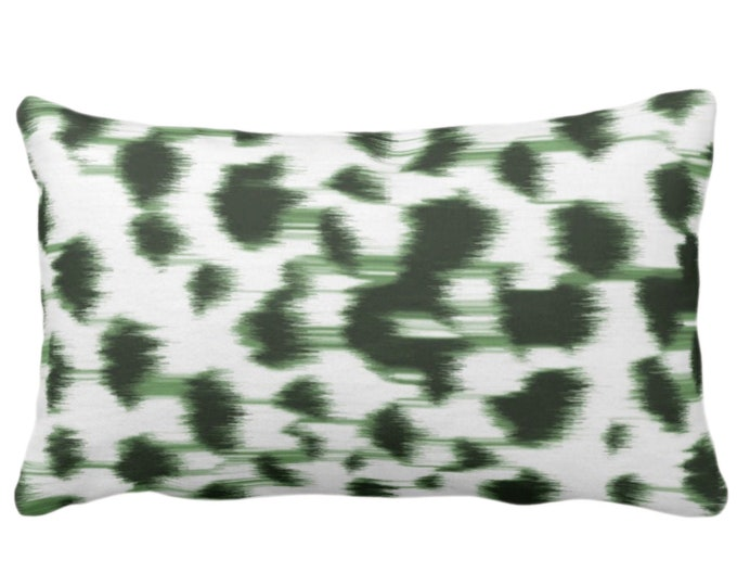 """OUTDOOR Ikat Abstract Animal Print Throw Pillow or Cover 14 x 20"""" Lumbar Pillows/Covers Kale Green/White Spots/Spotted/Dots/ Painted Pattern"""