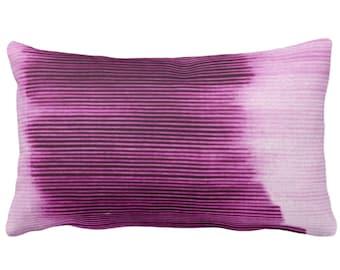 "Bright Plum Ombre Stripe Throw Pillow or Cover 14 x 20"" Lumbar Pillows/Covers, Purple Geometric/Art/Print/Design/Striped/Stripes/Geo/Lines"
