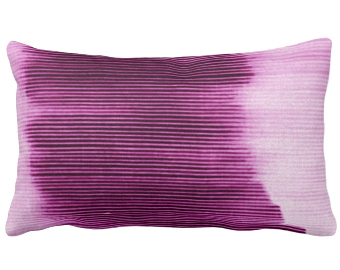 "Bright Plum Ombre Stripe Throw Pillow or Cover 14 x 20"" Lumbar Pillows/Covers, Purple Geometric/Art/Print/Design/Striped/Stripes/Geo/Lines"