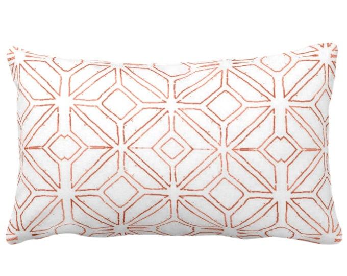 "Tribal Trellis Throw Pillow or Cover, Burnt Orange/White 14 x 20"" Lumbar/Oblong Pillows/Covers, Geo/Geometric/Diamond/Triangle Print/Pattern"