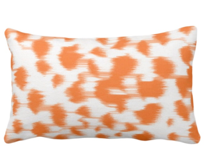 """Ikat Abstract Animal Print Throw Pillow or Cover 14 x 20"""" Lumbar Pillows/Covers, Bright Orange/White Spots/Spotted/Dots/Geo/Painted Pattern"""