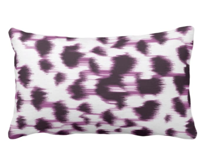 """OUTDOOR Ikat Abstract Animal Print Throw Pillow or Cover 14 x 20"""" Lumbar Pillows/Covers, Dark Purple/White Spotted/Dots/Painted Pattern"""