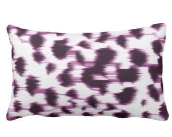 "Ikat Abstract Animal Print Throw Pillow or Cover 14 x 20"" Lumbar Pillows/Covers, Dark Purple/White Spots/Spotted/Dots/Geo/Painted Pattern"