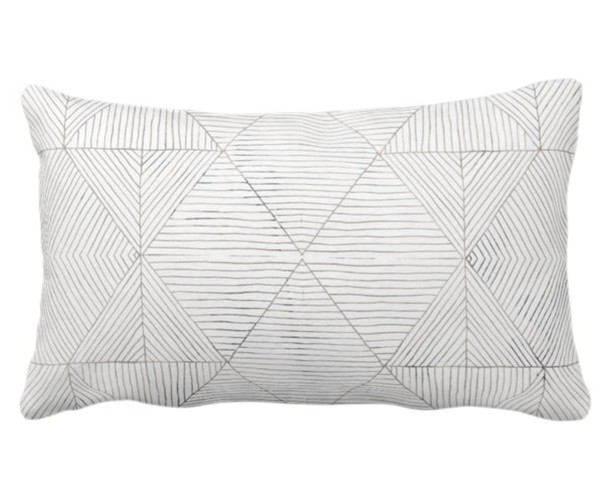 """Fine Line Geo Print Throw Pillow or Cover 14 x 20"""" Lumbar Pillows or Covers, Taupe Beige/Gray/White Tribal Geometric/Abstract/Lines/Diamond"""