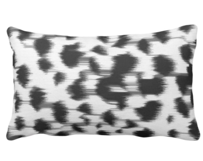 "OUTDOOR Ikat Abstract Animal Print Throw Pillow or Cover 14 x 20"" Lumbar Pillows/Covers, Black/Gray/White Spots/Spotted/Dots/Painted Pattern"