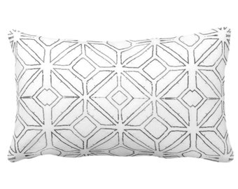 "Tribal Trellis Throw Pillow or Cover, Charcoal/lWhite 14 x 20"" Lumbar Pillows or Covers, Gray Geo/Geometric/Diamond/Triangle Print/Pattern"