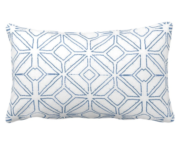 "OUTDOOR Tribal Trellis Throw Pillow or Cover, Navy/White 14 x 20"" Lumbar Pillows/Covers, Blue Geo/Geometric/Diamond/Triangles Print/Pattern"