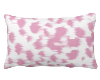 """Ikat Abstract Animal Print Throw Pillow or Cover 14 x 20"""" Lumbar Pillows/Covers, Rose Pink/White Spots/Spotted/Dots/Dot/Geo/Painted Pattern"""