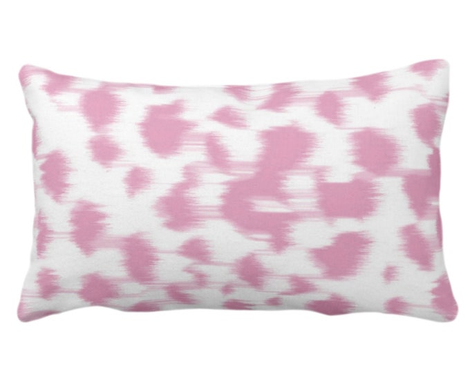 "Ikat Abstract Animal Print Throw Pillow or Cover 14 x 20"" Lumbar Pillows/Covers, Rose Pink/White Spots/Spotted/Dots/Dot/Geo/Painted Pattern"