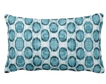 "Ikat Ovals Print Throw Pillow or Cover 14 x 20"" Lumbar/Oblong Pillows/Covers, Teal Blue/Green Geometric/Circles/Dots/Dot/Geo/Polka Pattern"