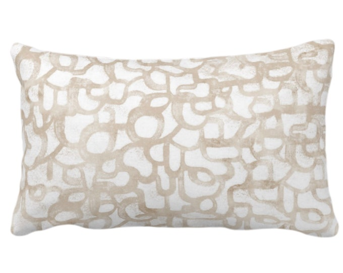 """Abstract Curves Throw Pillow or Cover, Almond 14 x 20"""" Lumbar Pillows/Covers Light Beige/Camel, Painted Modern/Geometric/Geo/Lines Print"""