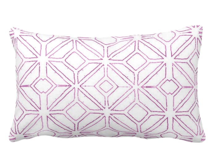 "OUTDOOR Tribal Trellis Throw Pillow or Cover, Purple & White 14 x 20"" Lumbar Pillows or Covers, Geo/Geometric/Diamond/Triangle Print/Pattern"