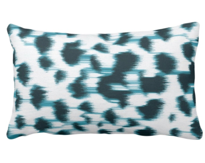 """Ikat Abstract Animal Print Throw Pillow or Cover 14 x 20"""" Lumbar Pillows/Covers,Teal Blue/White Spots/Spotted/Dots/Dot/Geo/Painted Pattern"""