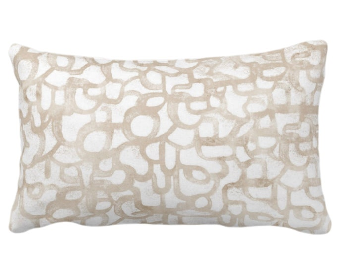 """OUTDOOR Abstract Curves Throw Pillow or Cover, Almond 14 x 20"""" Lumbar Pillows/Covers Light Beige/Camel Painted Modern/Geometric/Geo Print"""