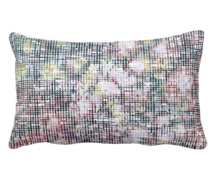 """OUTDOOR Abstract Floral Throw Pillow/Cover, Multi-Colored Print 14 x 20"""" Lumbar Pillows/Covers, Geometric/Flower/Geo Pink/Green/Teal Pattern"""