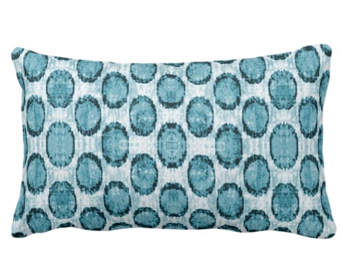 "OUTDOOR Ikat Ovals Print Throw Pillow or Cover 14 x 20"" Lumba Pillows/Covers, Teal Blue/Green Geometric/Circles/Dots/Dot/Geo/Polka Pattern"