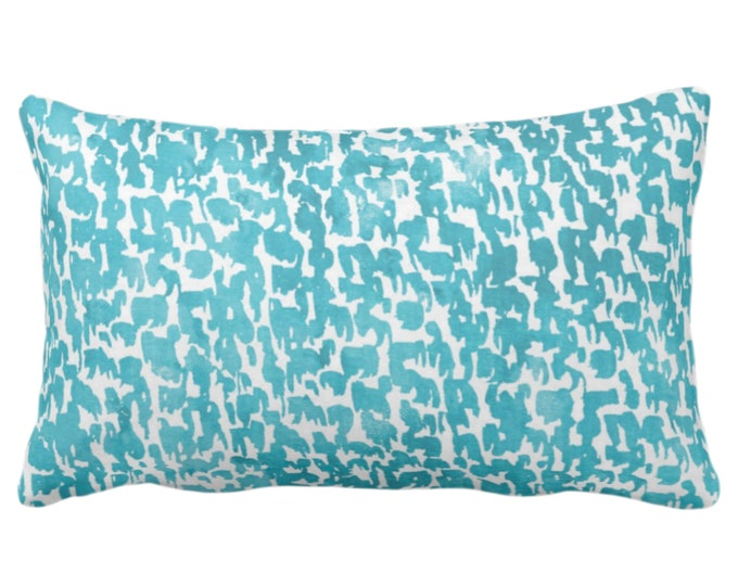"""Teal Speckled Print Throw Pillow or Cover 14 x 20"""" Lumbar Pillows/Covers, Bright Aqua/Turquoise Abstract/Marbled/Spots/Dots/Painted/Dashes"""