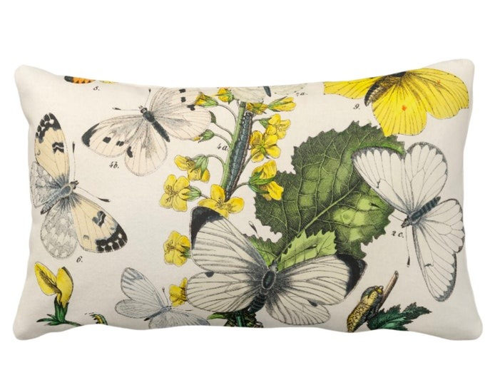 "Vintage Butterflies Throw Pillow or Cover 14 x 20"" Sq Pillows/Covers, Colorful Yellow/White/Green Butterfly Floral Botanical Print/Pattern"