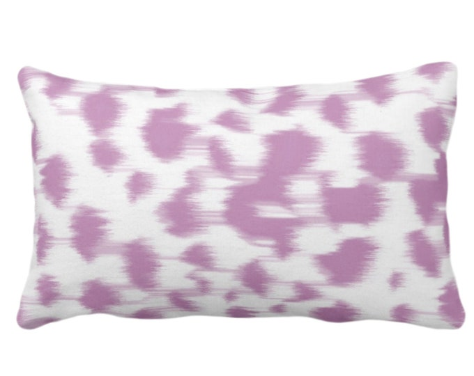 """Ikat Abstract Animal Print Throw Pillow or Cover 14 x 20"""" Lumbar Pillows/Covers, Light Purple/White Spots/Spotted/Dots/Geo/Painted Pattern"""