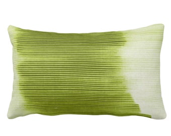 "OUTDOOR Peridot Ombre Stripe Throw Pillow/Cover 14 x 20"" Lumbar Pillows/Covers Bright Green Geometric/Print/Design/Striped/Stripes/Geo/Lines"