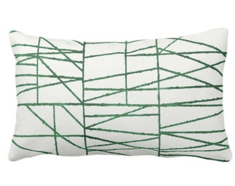 """Kale Broken Geo Print Throw Pillow or Cover 14 x 20"""" Lumbar/Oblong Pillows/Covers, Dark Green/White, Painted Geometric/Abstract/Lines/Stripe"""