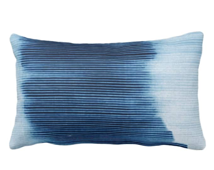 "OUTDOOR Indigo Ombre Stripe Throw Pillow or Cover 14 x 20"" Lumbar Pillows/Covers, Blue Geometric/Art/Print/Design/Striped/Stripes/Geo/Lines"