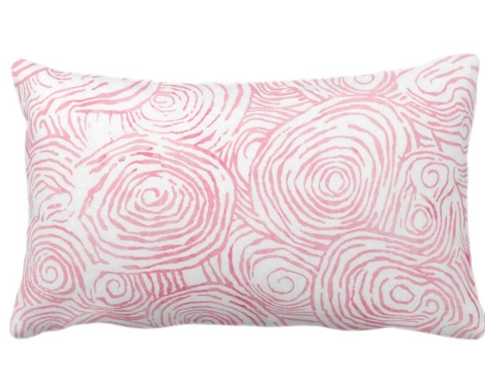 "Watercolor Fois Bois Throw Pillow or Cover, Pink 14 x 20"" Lumbar Pillows or Covers, Light Bright Painted Modern/Swirl/Geo/Lines Print"
