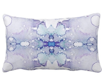 """Mirrored Watercolor Throw Pillow or Cover 14 x 20"""" Lumbar Pillows/Covers, Gray/Llilac/Purple Abstract Modern/Minimal Painted Print/Design"""